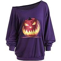 Gusspower Mujer Blusa Camisa Mangas Largas de Halloween,Mujers Hombro sin Tirantes Los Santos Enojado Calabaza Skew Neck Camiseta Más Tamaño Tops