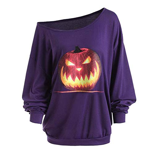 OverDose Damen Herbst Mode Frauen Plus Size Langarm Halloween Wütend Kürbis Skew Neck Tee Clubbing Party Bar Verrückte Bluse ()