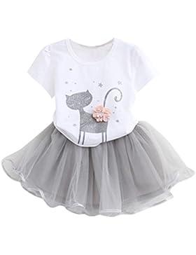JYJM Mädchen Karikatur Kleine Kätzchen Printed Shirt Kleid Kleider Set Für 2 Jahre bis 6 Jahre