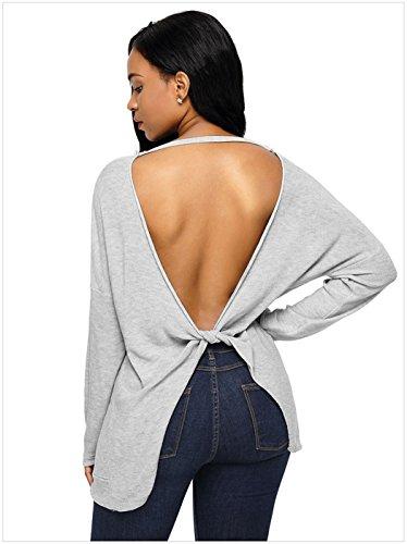 Sexy Manches Longues Dos Découvert Torsadé Torsadées Dos Pull Sweater Jumper Haut Top Gris