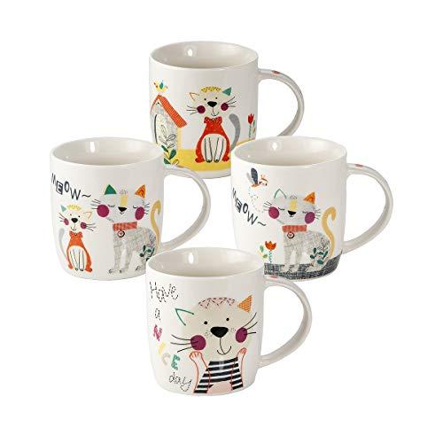 SPOTTED DOG GIFT COMPANY 4er Set große Tassen Kaffeebecher Kaffeetassen Teetassen Mugs Porzellan, weiß Nette Katze Design Katzenmotiv Geschenk für Katzenliebhaber Katzenfans und Katzenfreunde