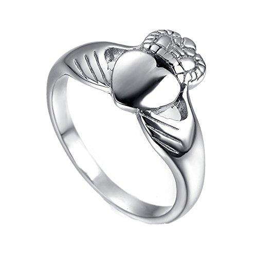 HAMANY Schmuck Edelstahl Herren Ring mit Claddagh Keltisch Knoten Ewigkeit Design,Silber,Größen 65 (20.7)