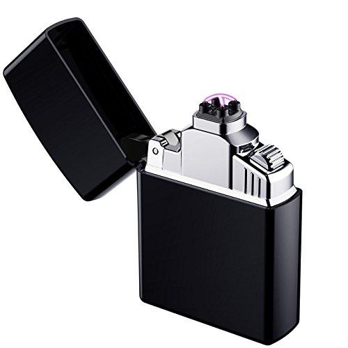 Arc Encendedor, AngLink Eléctrico Mechero USB Batería Doble láser sin llama Resistente al Viento Arc Encendedor Plasma más Ligero para los Fumadores – Cable USB Iincluido