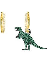 Gudeke Pendientes dinosaurios de moda con pendientes asimétricos de cristal colgante