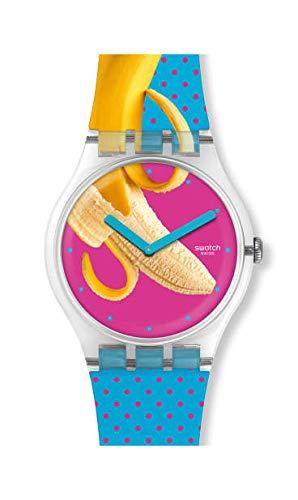 Swatch Unisex Erwachsene Analog Quarz Uhr mit Silikon Armband SUOK140