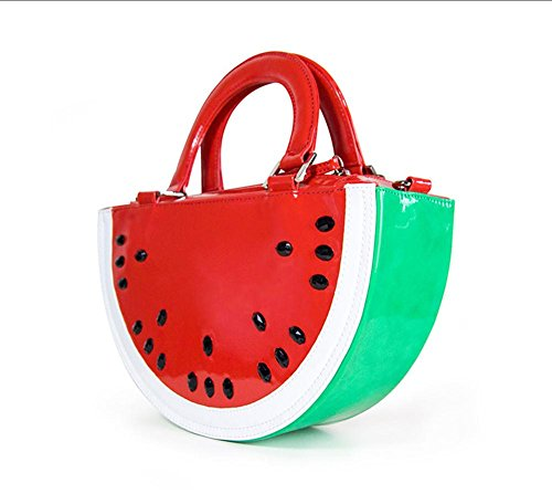 Wassermelone Tasche PU Leder Patent Musik Themed Design Tote Einkaufen Frauen Tragbare Schulter Handtaschen , #1 (Patent Leder Kleine Tote)