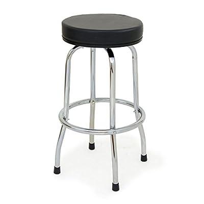 Wolf Home Black Chrome Kitchen Counter Breakfast Bar Stool Garage Workshop Seat - inexpensive UK light store.