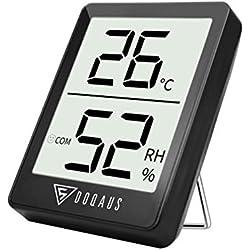 DOQAUS Thermometre Interieur, Hygrometre Interieur de Haute Précision, ℃/℉Commutable, pour Détecter humidité et la température, Indication du Niveau de Confort, Portable (Noir)