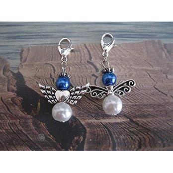 Duo, Set 2 Charms, Anhänger, Schutzengel Anhänger, Intensiv Blau/Weiß