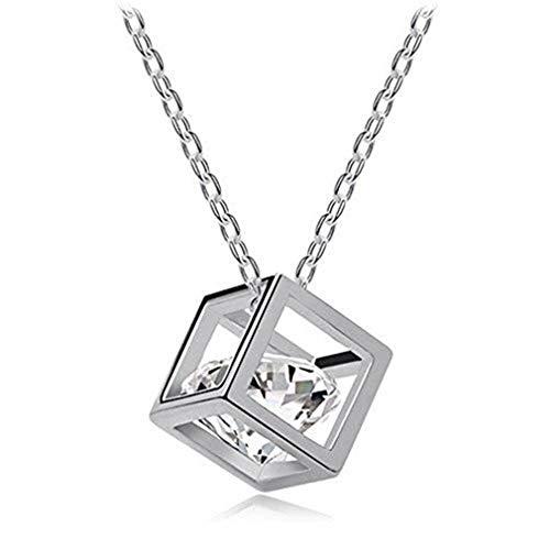 Scpink Offerte Donna catena di cristallo strass piazza pendente lega gioielli svendita (Argento)