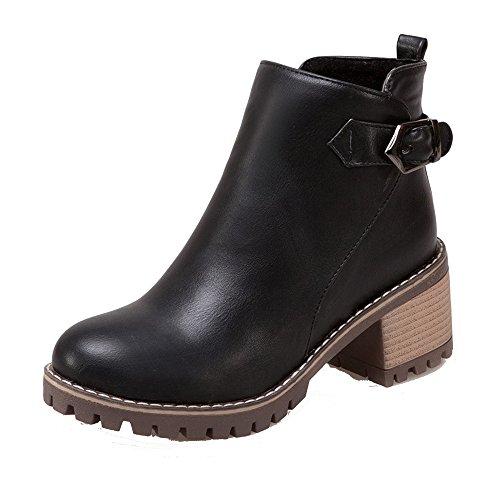 Ageemi shoes donna tacco a blocco zip scarpe a chiusa inverno polacchine,eux54 nero 38