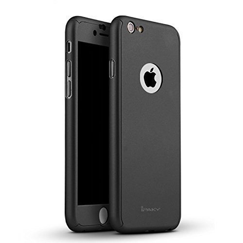 iPaky AT15312 360 Protective Body Case with Tempered Glass for Apple iPhone SE 5 5S,(Black)