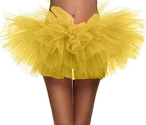 Ruiuzi Damen Tütü Rock Minirock 4 Lagen Petticoat Tanzkleid Dehnbaren Mini Skater Tutu Rock Erwachsene Ballettrock Tüllrock für Party Halloween Kostüme Tanzen (Klassische Erwachsene Für Halloween-kostüme)