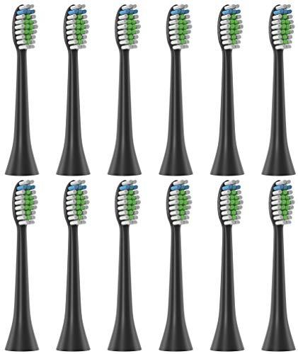 12 testine di ricambio di oliver james compatibile con spazzolini elettrici philips sonicare (nero)