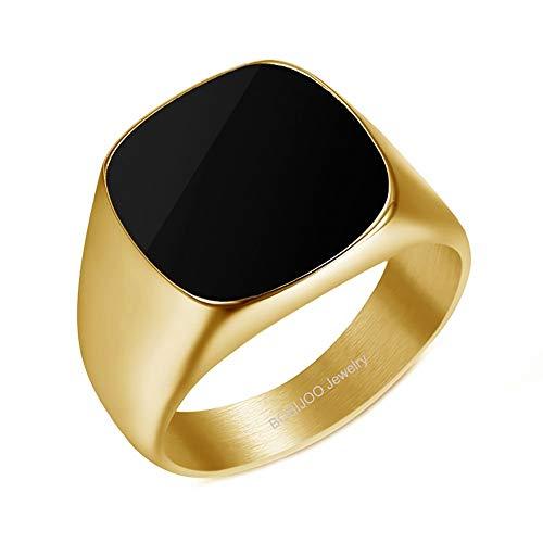 BOBIJOO Jewelry - Bague Chevalière Cabochon Homme Femme Acier Inoxydable 316L Plaqué Or Noir Email - 56 (7 US), Doré Or Fin - Acier Inoxydable 316