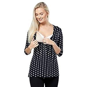 Happy-Mama-Premam-Top-Camiseta-de-Lactancia-Efecto-2-en-1-para-Mujer-372p-Negro-y-Blanco-Flores-EU-42-XL