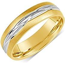 SILVEGO Anillo de boda de hombre y mujer acero inoxidable dorado