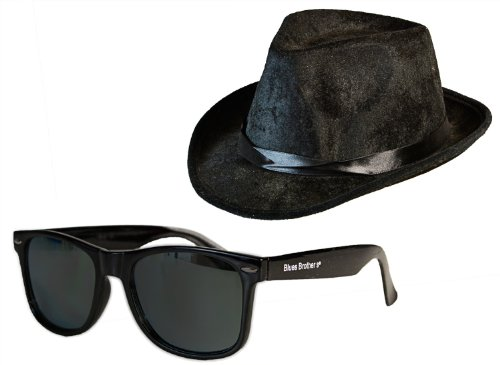 Nerd Clear Blues Brothers Band Kostüm Set Sonnen-Brille und Hut Film Accessoires für Fasching,...