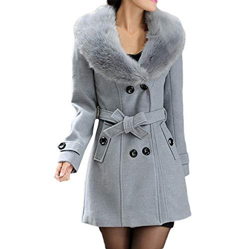 Wollmantel Frauen MYMYG Damen Winterjacke Trenchcoat Revers Wollmantel Trench Jacke Langarm Mantel mit Pelzkragen Outwear(GrauEU:36/CN-M)