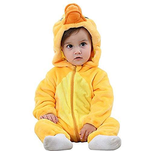 Zwerge 7 Hunde Kostüm Für - J2L Fasching Karneval Kostüm Klein Kinder Verkleidung Flanell Party Baby Tiere Prinzessin Fotoshooting Babyshooting (Ente, 80 (Alter 6-12 Monate))