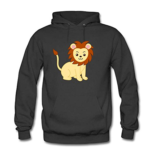 Classic Pullover Hooded Sweatshirt - Women's Cute Cartoon Lion Pattern Casual Long Sleeve Tops Black 2XL