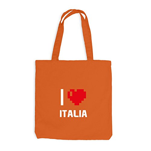 Jutebeutel - I Love Italia - Italien Reisen Herz Heart Pixel Orange