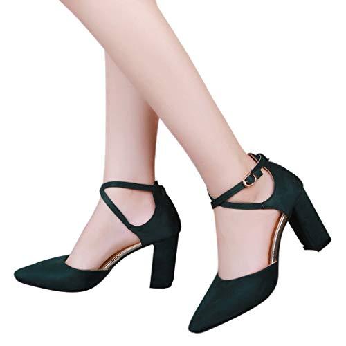 Mymyguoe Damen Pumps Mary Jane Halbschuhe High Heels 8.5cm mit Blockabsatz Riemchensandale Spitze Flacher Mund Dicke Ferse mit Einem Knopf schnallen Damenschuhe Mode einfache Wilde Schuhe