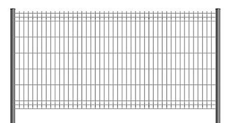 Kit de 5ml de clôture rigide comprenant : 2 panneaux + 3 poteaux avec bouchons PVC + 2 pinces de tension (1m93, VERT RAL 6005)