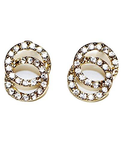 Bijoux Boucles d'oreilles clous en acier chirurgical Anneaux Double Fashion pour femme Gold & White