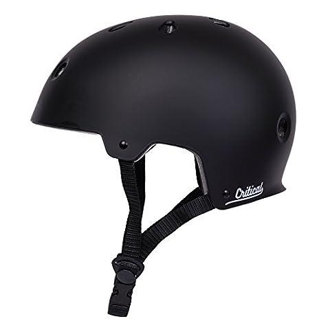Critical Cycles 2427 Klassischer CM2 Helm mit 11Belüftungsöffnungen, Pendlerrad/Skate/mehrere Sportarten - Mattes Schwarz, L/59 - 63 cm