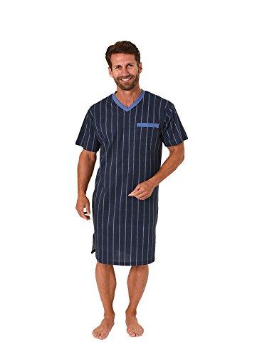 Trend by Normann Herren Nachthemd Kurzarm in eleganter Streifenoptik 62701, Größe2:52, Farbe:hellblau -