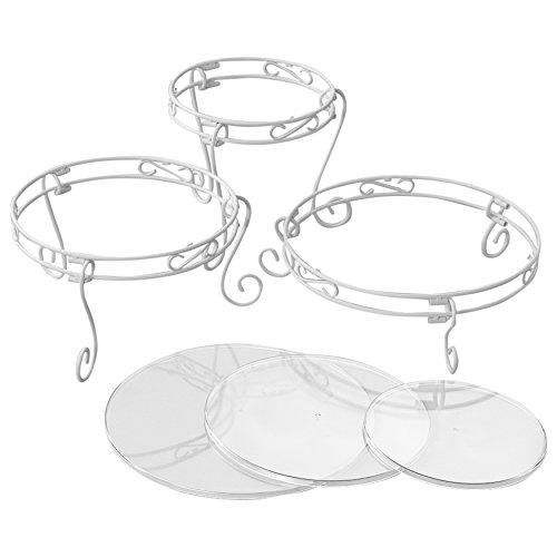 Wilton Weißes Verschnörkeltes Torten- und Dessert-Ständer-Set, Hochzeitstorten-Ständer Etagere Gold Plate
