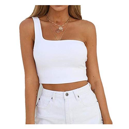 iHENGH Damen Sommer Top Bluse Bequem Lässig Mode T-Shirt Blusen Frauen einzelne Schulter Ernte Oberseite reizvolle Sport Büstenhalter dünne Unterhemd Behälter Weste(Weiß, - Shake It Up Kostüm