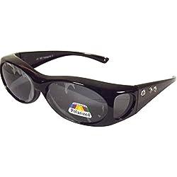 Sonnen-Überbrille schwarz m. Strass UV400 Polarisiert f. Brillenträger Polbrille