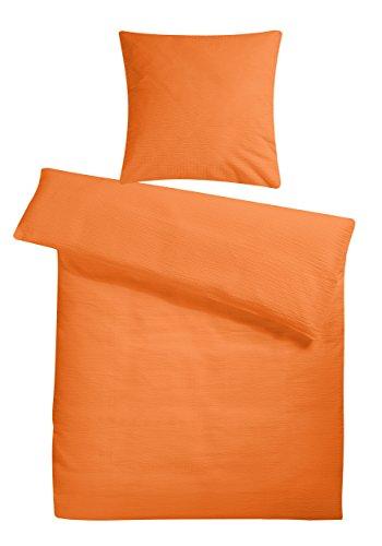 Leichte Seersucker Bettwäsche 155 x 220 cm Orange – atmungsaktiver Kopfkissen- und Bettdecken-Bezug aus reiner Baumwolle mit Reißverschluss – 2 teiliges kühles Sommer-Bettwäsche Set Übergröße