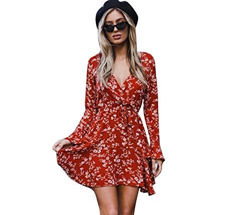 Tarkis Women Floral Dress Reffle Sexy V-Neck Long Sleeve Vintage Dresses for Ladies Size 10-16 Deep Hard Coat