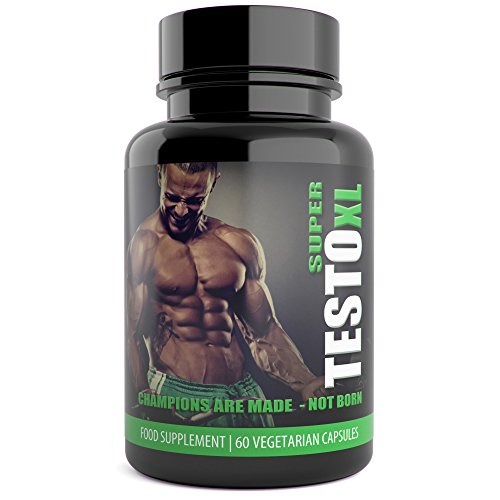 Super Testo XL Extreme Natural Testosterone Booster for Men - 60 Capsules - UK Manufactured Natural Supplement , Contains Tribulus Terrestris Increase Testosterone Levels Libido Muscle & Strength Test