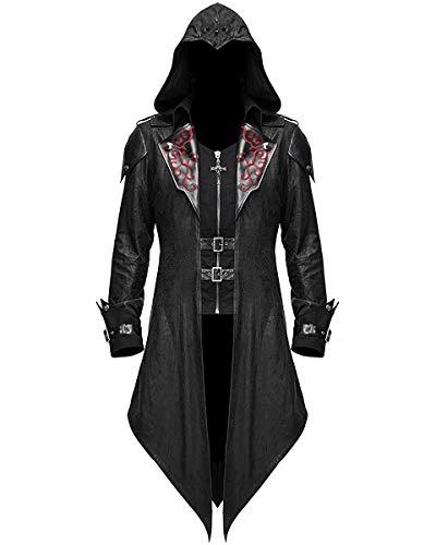 Devil Fashion Mens-Gotik Jacke Mantel mit Kapuze Schwarz Dieselpunk Assassins Creed - Schwarz, XL