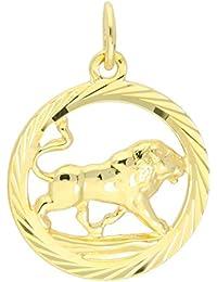 MyGold Sternzeichen Anhänger Löwe (Ohne Kette) Gelbgold 333 Gold (8 Karat) Diamantiert Innen Offen Ø 15mm Rund Tierkreiszeichen Horoskop Goldanhänger Geschenke Geschenkideen Gavno A-04433-G302-Löw
