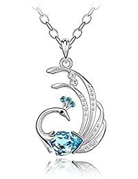 Nakabh Blue Austrian Crystal Platinum Plated Peacock Pendant Necklace Chain Gift For Women & Girls