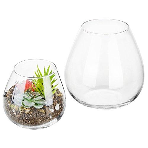 Set aus 2dekorativen Glas-Displays, moderne, runde, klare Vasen/Schalen Kerzenleuchter/Terrarien (Glas-schale Terrarien,)