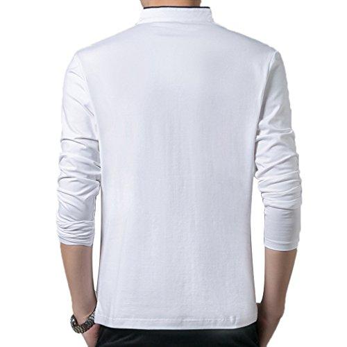 Summer Mae Herren Langarm-Polohemd Elegante Stil Männer Freizeit Haushemd White