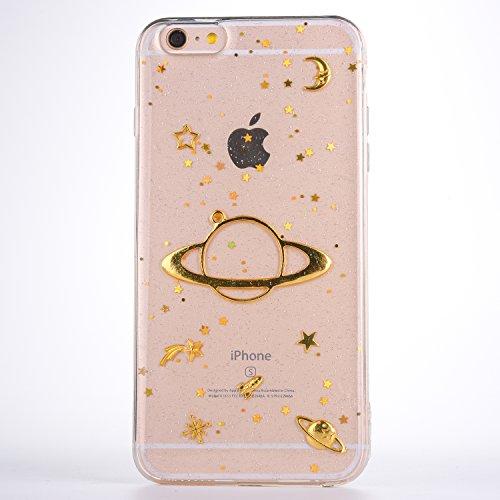 CrazyLemon Hülle für iPhone 6S Plus/iPhone 6 Plus, 3D Prägung Golden Bling Funkeln Saturn Star Mond Design Weich Slim Transparent Silikon Cover TPU Schutzhülle für iPhone 6 Plus 6S Plus - Clear