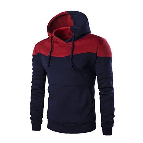 Amlaiworld Uomo Primavera Cappotto con cappuccio caldo sottile (XL, blu marino)