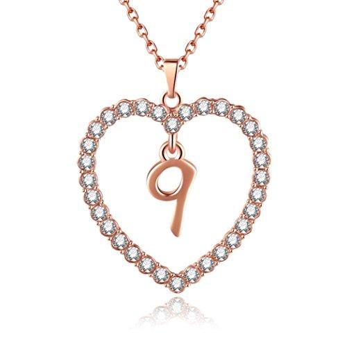 diadia Lucky Zahlen Halskette gelegt werden ️ Fashion Frauen Geschenk 0–9Lucky Zahlen Kette Ketten Love Anhänger, rose gold, Number 9