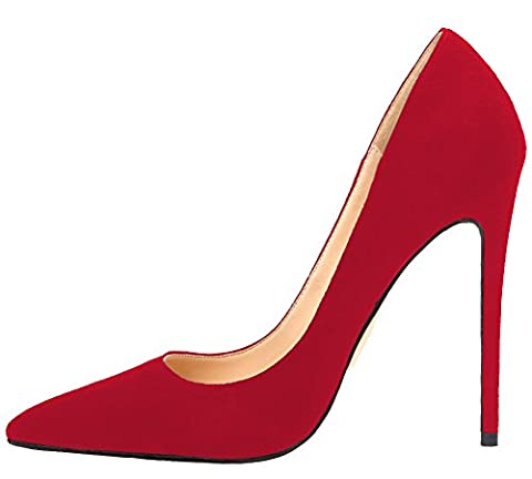 MONICOCO Übergröße Damenschuhe Spitze Zehen Stiletto Pumps für Party Hochzeit Samt Rot 43 EU