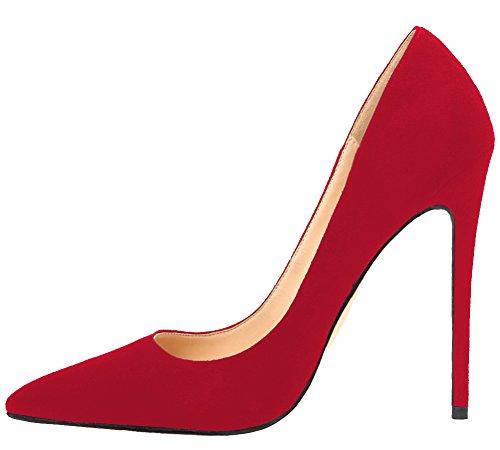 MONICOCO Übergröße Damenschuhe Spitze Zehen Stiletto Pumps für Party Hochzeit A-Rot Samt