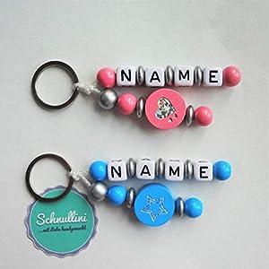 Schlüsselanhänger mit Namen Kinder Gravur Kindergartentasche Schultasche Rucksack Stern Herz Schlüsselring | Junge Blau Mädchen Rosa Namenskette