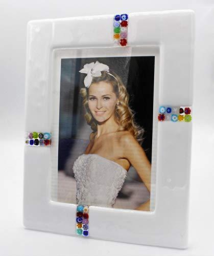 Portafoto in vetro di murano e murrine millefiori cm 20x24 made in italy