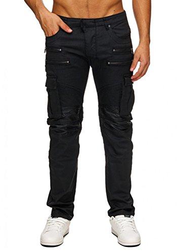 Herren Jeans | (Slim Fit) Dunkle Jeans Cargo Hose in Leder Optik mit Ziernähten und Reißverschlüssen im Biker Look | H1751 in Markenqualität, Farben:Schwarz, Größe Jeans:W30 (Leder Slim-fit-jeans)